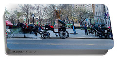 Central Park Horse Carriage Station Panorama Portable Battery Charger