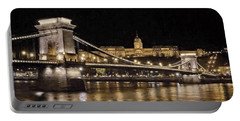 Chain Bridge And Buda Castle Winter Night Painterly Portable Battery Charger
