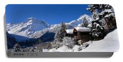 Chalets In A Snow White Valley Portable Battery Charger