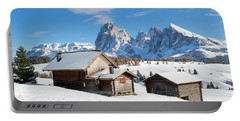 Chalets On The Alpe Di Siusi, Seiser Alm, In The Winter Snow Portable Battery Charger