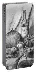 Portable Battery Charger featuring the drawing Charcoal Still Life Harvest by Dee Dee  Whittle