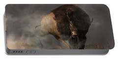 Portable Battery Charger featuring the digital art Charging Bison by Daniel Eskridge