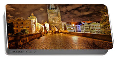 Charles Bridge At Night Portable Battery Charger by Madeline Ellis