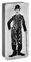 Charlie Chaplin Typography Poster Portable Battery Charger by Ayse Deniz