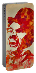 Charlie Chaplin Watercolor Painting Portable Battery Charger by Georgeta Blanaru