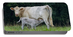 Charolais Cattle Nursing Young Portable Battery Charger by Chris Flees