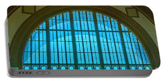 Portable Battery Charger featuring the photograph Chattanooga Train Depot Stained Glass Window by Susan  McMenamin