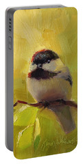 Chatty Chickadee - Cheeky Bird Portable Battery Charger by Karen Whitworth