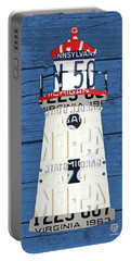 Cheboygan Crib Lighthouse Michigan Vintage License Plate Art On Wood Portable Battery Charger