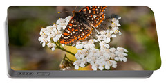 Portable Battery Charger featuring the photograph Checkerspot Butterfly On A Yarrow Blossom by Jeff Goulden