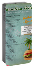 Cheeseburger In Paradise Jimmy Buffet Tribute Menu  Portable Battery Charger