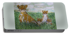 Cheetah And Babies Portable Battery Charger