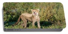 Cheetah Cub Acinonyx Jubatus Yawning Portable Battery Charger