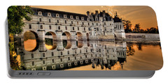 Chenonceau Castle In The Twilight Panorama Portable Battery Charger