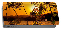 Portable Battery Charger featuring the photograph Cherry Blossom Sunset by Mitchell R Grosky