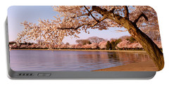 Cherry Blossom Tree Along A Lake Portable Battery Charger