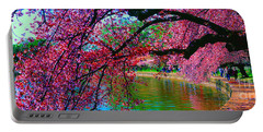 Cherry Blossom Walk Tidal Basin At 17th Street Portable Battery Charger by Tom Jelen