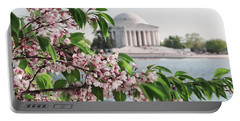 Portable Battery Charger featuring the photograph Cherry Blossoms And The Jefferson Memorial 2 by Mitchell R Grosky