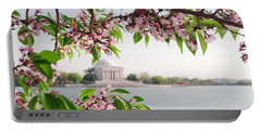 Portable Battery Charger featuring the photograph Cherry Blossoms And The Jefferson Memorial Panorama by Mitchell R Grosky