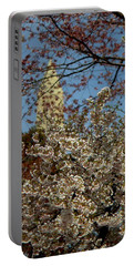 Cherry Blossoms And The Monument Portable Battery Charger