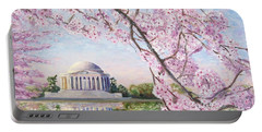Jefferson Memorial Cherry Blossoms Portable Battery Charger