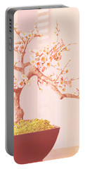 Portable Battery Charger featuring the painting Cherry Bonsai Tree by Marian Cates