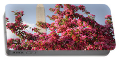 Portable Battery Charger featuring the photograph Cherry Trees And Washington Monument 5 by Mitchell R Grosky