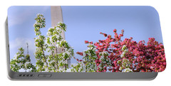 Cherry Trees And Washington Monument Four Portable Battery Charger