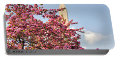 Cherry Trees And Washington Monument One Portable Battery Charger by Mitchell R Grosky