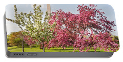 Cherry Trees And Washington Monument Three Portable Battery Charger by Mitchell R Grosky