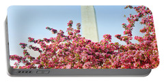 Cherry Trees And Washington Monument Two Portable Battery Charger by Mitchell R Grosky