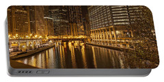 Chicago At Night Portable Battery Charger by Daniel Sheldon