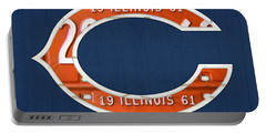 Chicago Bears Football Team Retro Logo Illinois License Plate Art Portable Battery Charger