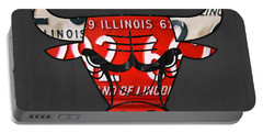 Chicago Bulls Basketball Team Retro Logo Vintage Recycled Illinois License Plate Art Portable Battery Charger
