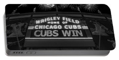 Chicago Cubs Win Fireworks Night B W Portable Battery Charger