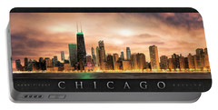 Chicago Gotham City Skyline Panorama Poster Portable Battery Charger by Christopher Arndt