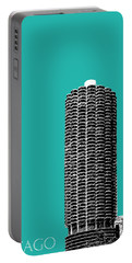 Chicago Skyline Marina Towers - Teal Portable Battery Charger