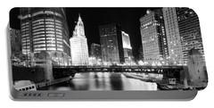 Chicago River Bridge Skyline Black White Portable Battery Charger