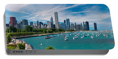 Chicago Skyline Daytime Panoramic Portable Battery Charger by Adam Romanowicz