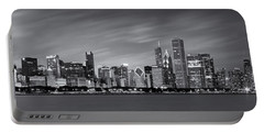 Chicago Skyline At Night Black And White Panoramic Portable Battery Charger by Adam Romanowicz