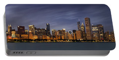 Chicago Skyline At Night Color Panoramic Portable Battery Charger by Adam Romanowicz