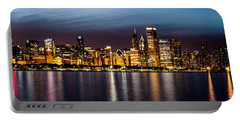 Chicago Skyline At Night Panoramic Portable Battery Charger
