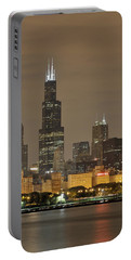Chicago Skyline At Night Portable Battery Charger by Sebastian Musial