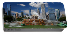 Chicago Skyline Grant Park Fountain Clouds Portable Battery Charger