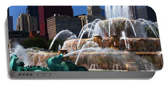 Chicago Skyline Grant Park Fountain Portable Battery Charger