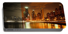 Chicago Skyline Night Amber Portable Battery Charger