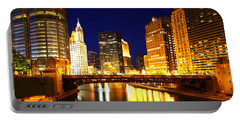 Chicago Skyline Night River Portable Battery Charger