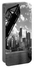 Chicago-skyline-raised Bridge Black White Portable Battery Charger