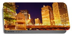 Chicago Skyline River Bridge Night Portable Battery Charger
