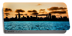 Chicago Skyline Silhouette Portable Battery Charger by Semmick Photo
